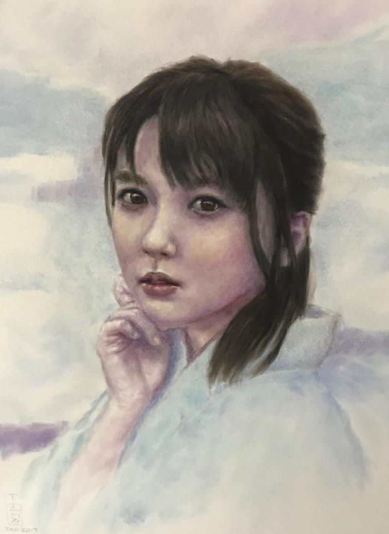 "Japanese girl,Soft pastel, 11"" x 16"""
